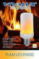 LED  E27 6,5W lángoló 1300-1700K 130lm